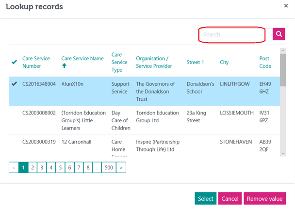 An image of the Lookup records screen highlighting the search box