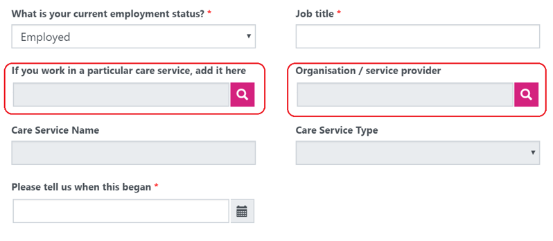 An image showing how to find the correct employment details, highlighting the Organisation/service provider field and the If you work for a particular care service, add it here field