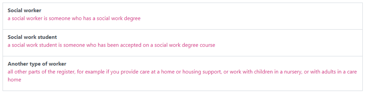 An image of the list of different worker types; Social worker, Social work student and Another type of worker