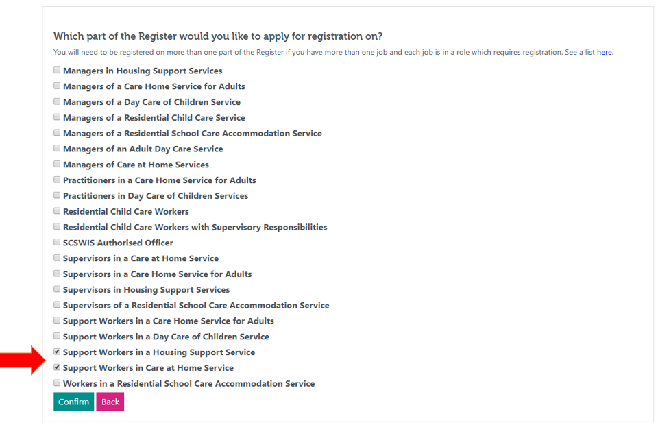 An image of the list of all the different parts of the register you can apply for